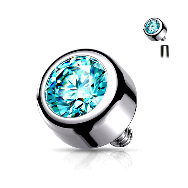 Implant Grade Titanium Internally Threaded Bezel Set Round Swarovski Crystal Part-Aqua