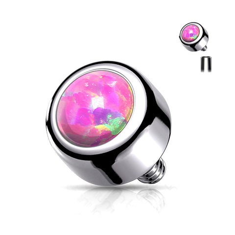 Implant Grade Titanium Internally Threaded Bezel Set Fire Opal Part-Pink Opal