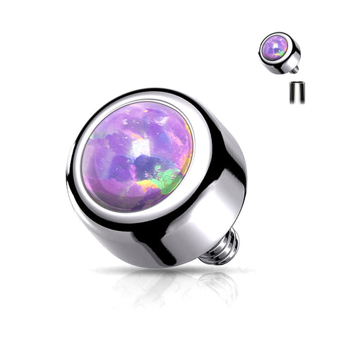 Implant Grade Titanium Internally Threaded Bezel Set Fire Opal Part-Purple Opal