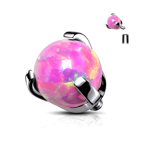 Implant Grade Titanium Internally Threaded Fire Opal Ball Claw Prong Set Top Part-Pink Opal