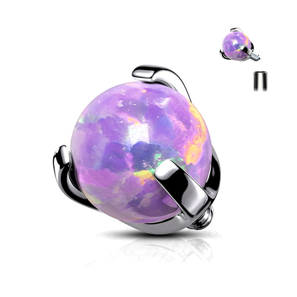 Implant Grade Titanium Internally Threaded Fire Opal Ball Claw Prong Set Top Part-Purple Opal