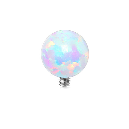 Fire Opal Sparkle Ball Dermal Anchor Top-White Opal
