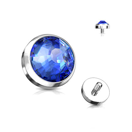 Implant Grade Titanium Sparkle Gem Set Flat Dome Dermal Anchor Top-Blue