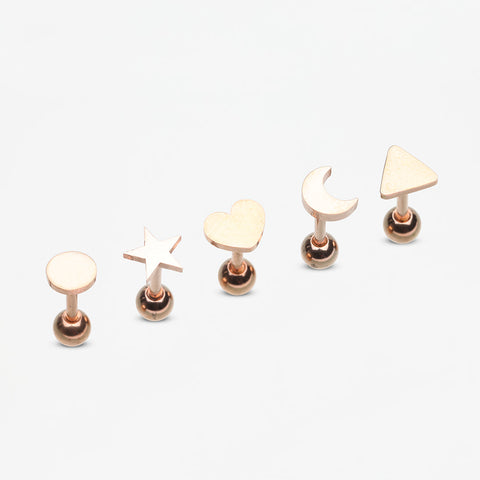 5 Pcs Pack of Rose Gold Assorted Shapes Cartilage Tragus Barbell Earrings