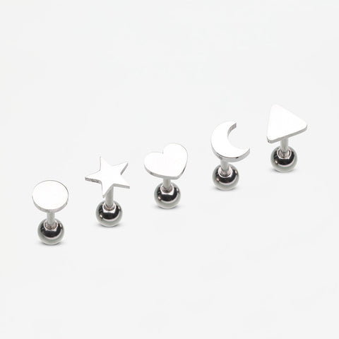 5 Pcs Pack of Assorted Shapes Cartilage Tragus Barbell Earrings