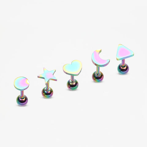 5 Pcs Pack of Colorline Assorted Shapes Cartilage Tragus Barbell Earrings