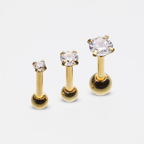 3 Pcs Pack of Golden Assorted Prong Set Gems Cartilage Tragus Barbell Earrings-Clear