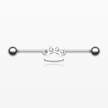 Brass Knuckles Industrial Barbell-Clear