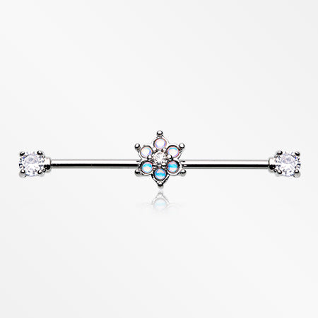 Iridescent Revo Spring Flower Sparkle Prong Set Industrial Barbell-Clear