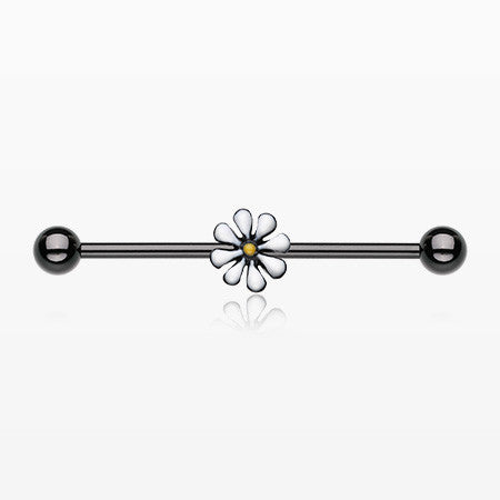 Blackline Daisy Industrial Barbell-Black/White