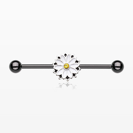 Blackline Daisy Blossom Industrial Barbell-Black/White