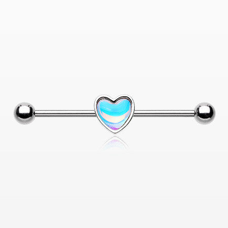 Iridescent Revo Heart Steel Industrial Barbell-Rainbow/Multi-Color
