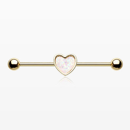 Golden Opal Sparkle Heart Industrial Barbell-White