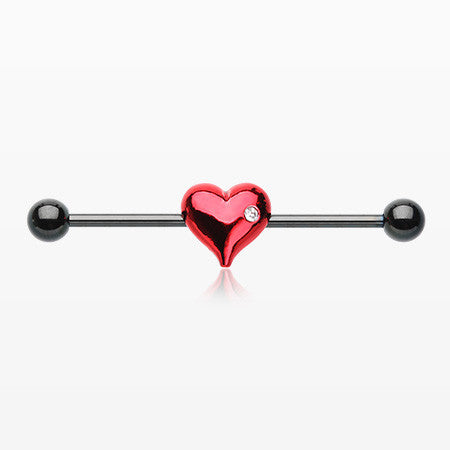 Blackline Heart Dainty Sparkle Industrial Barbell-Black/Red