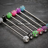 Acrylic Aurora Gem Ball Industrial Barbell-Green/Clear