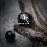 G-Clef Music Note Logo Acrylic Barbell Tongue Ring-Black
