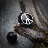 Classic Peace Logo Acrylic Barbell Tongue Ring-Black