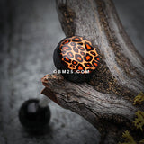 Leopard Print Logo Acrylic Barbell Tongue Ring-Orange/Brown