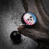 Skull Americana Logo Acrylic Barbell Tongue Ring-Black