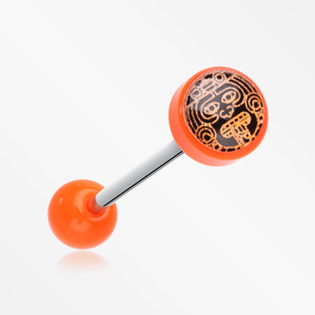 Mayan Calendar God Acrylic Top Barbell Tongue Ring-Orange