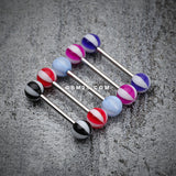 Beach Ball Acrylic Top Barbell Tongue Ring-Blue