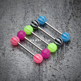 Candy Stripe Acrylic Top Barbell Tongue Ring-Blue