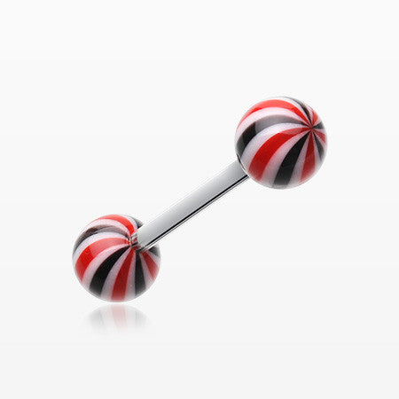 Candy Swirl Acrylic Top Barbell Tongue Ring-Black/Red