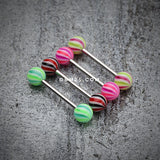 Candy Swirl Acrylic Top Barbell Tongue Ring-Pink/Purple