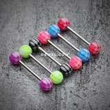 Classic Checker Acrylic Top Barbell Tongue Ring-Purple
