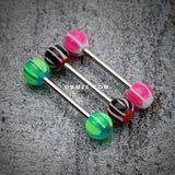 Swirl Punch Acrylic Top Barbell Tongue Ring-Pink/White