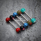 Nova Star Acrylic Top Barbell Tongue Ring-Red/Black