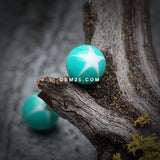Nova Star Acrylic Top Barbell Tongue Ring-Teal/White