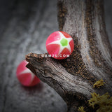 Star Punch Acrylic Top Barbell Tongue Ring-Pink