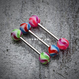 Pinwheel Stripe Acrylic Top Barbell Tongue Ring-Pink/Purple