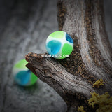 Heart Tetrad Acrylic Top Barbell Tongue Ring-Green/Blue