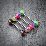 Heart Tetrad Acrylic Top Barbell Tongue Ring-Purple/Green