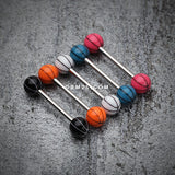 Basketball Acrylic Top Barbell Tongue Ring-White