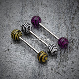 Tiger Print Acrylic Top Barbell Tongue Ring-White/Black