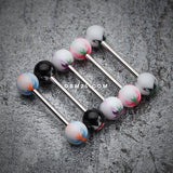 Butterfly Acrylic Top Barbell Tongue Ring-White/Black