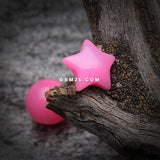 Fluffy Star Acrylic Top Barbell Tongue Ring-Pink