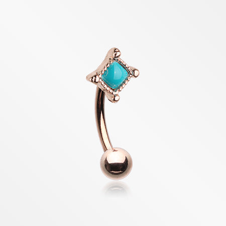 Rose Gold Bohemian Turquoise Bead Curved Barbell-Turquoise