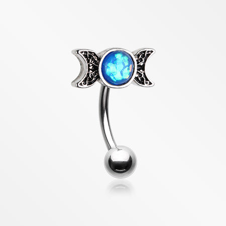 Triple Goddess Opalescent Moon Sparkle Curved Barbell-Blue