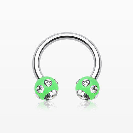 Aurora Gem Ball Acrylic Horseshoe Circular Barbell-Green/Clear