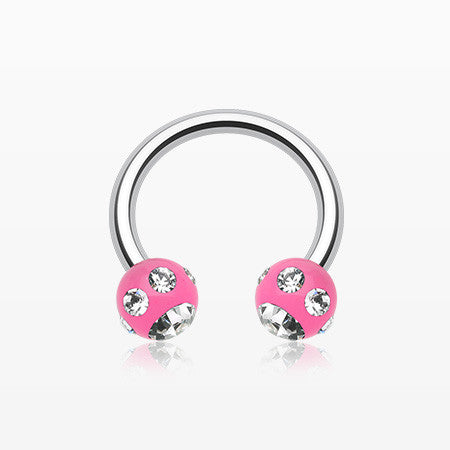 Aurora Gem Ball Acrylic Horseshoe Circular Barbell-Pink/Clear