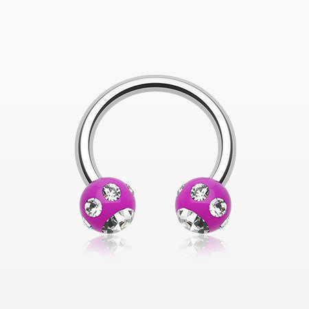 Aurora Gem Ball Acrylic Horseshoe Circular Barbell-Purple/Clear