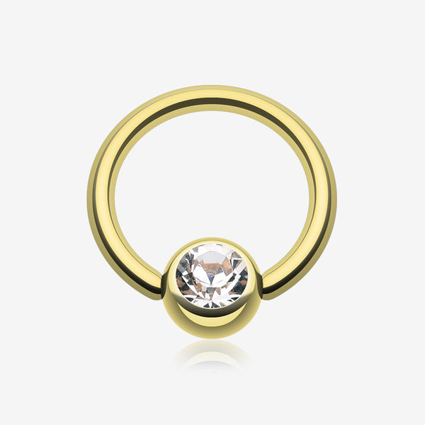 Gold Plated Gem Ball Captive Bead Ring-Clear