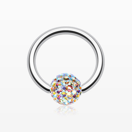 Multi-Gem Sparkle Captive Bead Ring-Aurora Borealis