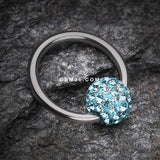 Multi-Gem Sparkle Captive Bead Ring-Aqua