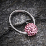 Multi-Gem Sparkle Captive Bead Ring-Light Pink