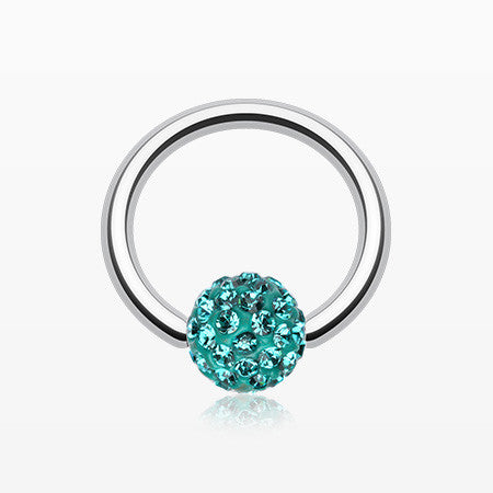 Multi-Gem Sparkle Captive Bead Ring-Teal